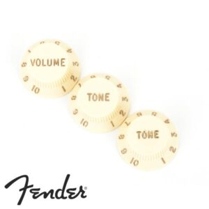 Fender© ฝาครอบโวลุ่มโทนกีตาร์ไฟฟ้า ปุ่มโทนกีตาร์ไฟฟ้า สำหรับทรง Strat จำนวน 3 ตัว (1x วอลุ่ม, 2x โทน) / Stratocaster© Knobs, Pack of 3  (1x Volume, 2x Tone)