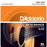 D'Addario© สายกีตาร์โปร่ง เบอร์ 10 แบบ 80/20 Bronze รุ่น EJ10 (Extra Light, 10-47)