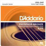 D'Addario© สายกีตาร์โปร่ง เบอร์ 10 แบบ Phosphor Bronze รุ่น EJ15 (Extra Light, 10-47)