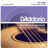 D'Addario© สายกีตาร์โปร่ง เบอร์ 11 แบบ Phosphor Bronze รุ่น EJ26 (Custom Light, 11-52)