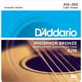 D'Addario© สายกีตาร์โปร่ง เบอร์ 12 แบบ Phosphor Bronze รุ่น EJ16 (Light, 12-53)