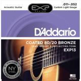 D'Addario© EXP13 สายกีตาร์โปร่ง เบอร์ 11 สายเคลือบพิเศษ แบบ 80/20 Bronze (Custom Light, 11-52)