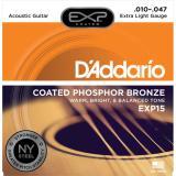 D'Addario© EXP15 สายกีตาร์โปร่ง เบอร์ 10 สายเคลือบพิเศษ แบบ Phosphor Bronze (Extra Light, 10-47)