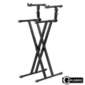 Carlsbro ขาตั้งคีย์บอร์ด 2 ชั้น โลหะขาคู่ ปรับระดับได้ รุ่น DF036 (2-Tier Double Brace Keyboard Stand)